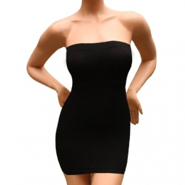 Andux Sexy Damen Figurformende miederkleid trägerlos ausdehnungs minikleid schlankheits SS-W03 Schwarz (XL) -