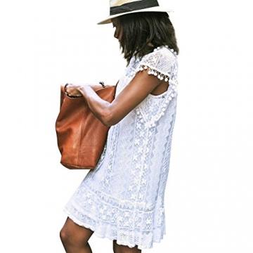 Andy's Share, Damen Sommer Spring Ärmellos Weiß Kleid Minikleid Abend Partei Ballkleid Spitze (XL, Weiß) -