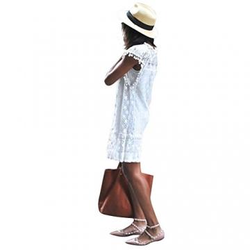 Andy's Share, Damen Sommer Spring Ärmellos Weiß Kleid Minikleid Abend Partei Ballkleid Spitze (L, Weiß) -