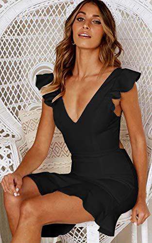 Angashion Damen Sexy Sommer Kleid V-Ausschnitt Armellos Rückenfrei Partykleid Unregelmäßig Abendkleider Schwarz S - 2