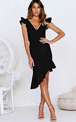 Angashion Damen Sexy Sommer Kleid V-Ausschnitt Armellos Rückenfrei Partykleid Unregelmäßig Abendkleider Schwarz S - 3