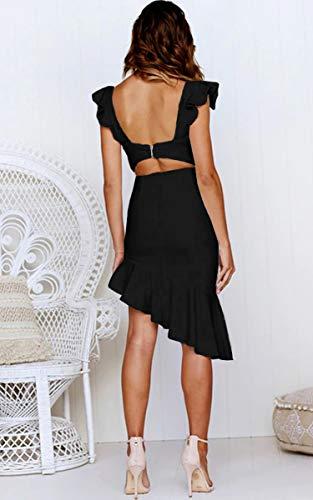 Angashion Damen Sexy Sommer Kleid V-Ausschnitt Armellos Rückenfrei Partykleid Unregelmäßig Abendkleider Schwarz S - 4