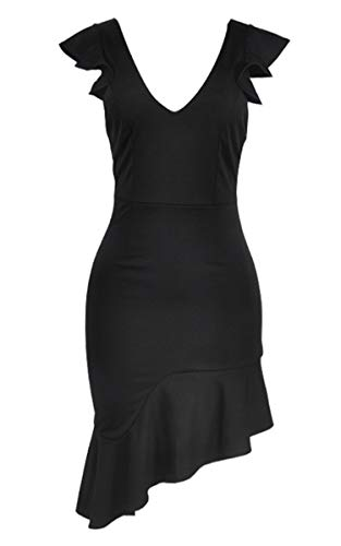 Angashion Damen Sexy Sommer Kleid V-Ausschnitt Armellos Rückenfrei Partykleid Unregelmäßig Abendkleider Schwarz S - 5