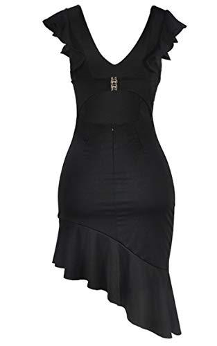 Angashion Damen Sexy Sommer Kleid V-Ausschnitt Armellos Rückenfrei Partykleid Unregelmäßig Abendkleider Schwarz S - 6