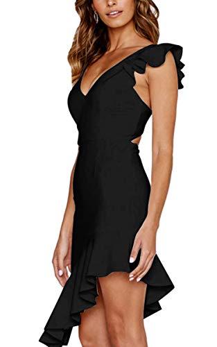 Angashion Damen Sexy Sommer Kleid V-Ausschnitt Armellos Rückenfrei Partykleid Unregelmäßig Abendkleider Schwarz S - 1