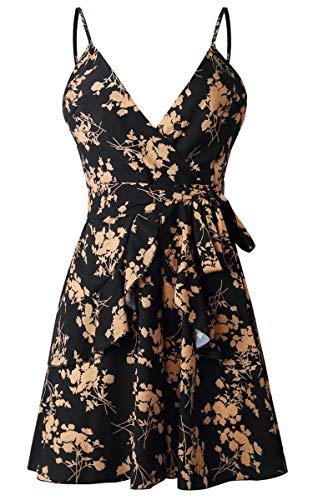 Angashion Damen Sommerkleid Blumen V-Ausschnitt Minikleid Spaghettiträger Mode Strandkleider Mit Gürtel Schwarz L - 4
