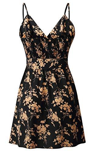 Angashion Damen Sommerkleid Blumen V-Ausschnitt Minikleid Spaghettiträger Mode Strandkleider Mit Gürtel Schwarz L - 5