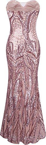Angel-fashions Damen eingekerbt tragerlos Paillette Spalte Scheide Stock Lange Kleid Small - 2