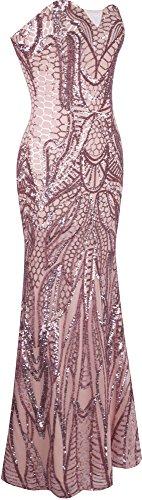 Angel-fashions Damen eingekerbt tragerlos Paillette Spalte Scheide Stock Lange Kleid Small - 4