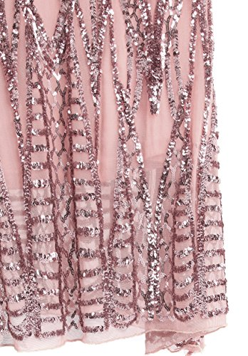 Angel-fashions Damen eingekerbt tragerlos Paillette Spalte Scheide Stock Lange Kleid Small - 7