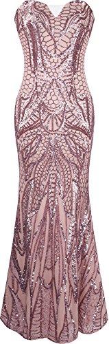 Angel-fashions Damen eingekerbt tragerlos Paillette Spalte Scheide Stock Lange Kleid Small - 1