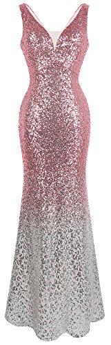 Angel-fashions Damen Pailletten V-Ausschnitt Ballon Gatsby Flapper Abendkleid (M, Rosa Silber) - 1