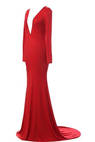 Angelababy LYQ005 Langarm Tief V-ausschnitt Abendkleider Ballkelider Partykleider neu (S, Rot) -
