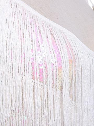 Anna-Kaci Frauen Adjustable Gatsby Pailletten Quaste Fransen Troddel 1920s Flapper ärmellos Schwingen Quasten Rückenfrei Spaghettibügel Party Mini Kleid - 5