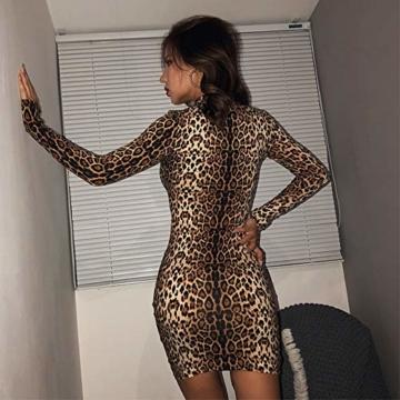 Annstar Frauen Schlangenleder Print Kleid Zebra Leopard Print Club Kleid Rollkragen Sexy Bodycon Party Minikleid (S, E) - 2
