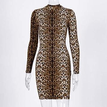Annstar Frauen Schlangenleder Print Kleid Zebra Leopard Print Club Kleid Rollkragen Sexy Bodycon Party Minikleid (S, E) - 4
