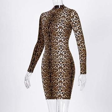 Annstar Frauen Schlangenleder Print Kleid Zebra Leopard Print Club Kleid Rollkragen Sexy Bodycon Party Minikleid (S, E) - 5