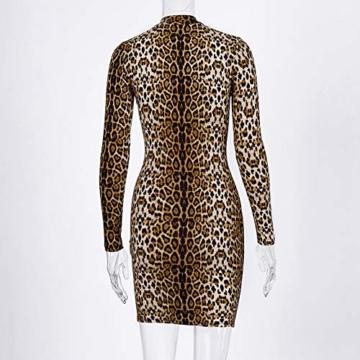 Annstar Frauen Schlangenleder Print Kleid Zebra Leopard Print Club Kleid Rollkragen Sexy Bodycon Party Minikleid (S, E) - 6