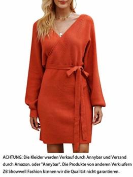 Annybar Damen Kurz Strickkleid Herbst Rückenfrei Langarm Kleid Orange - S - 1