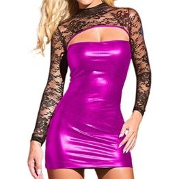 Ansenesna Reizwäsche Damen Erotik Leder Kleid Spitze Babydoll Frauen Leidenschaft Eng Versuchung Nachtwäsche (Lila) - 1
