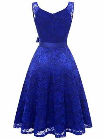 Aonour AR8008 Damen Floral Spitze Brautjungfern Party Kleid Knielang V Neck Cocktailkleid Royalblue L - 2