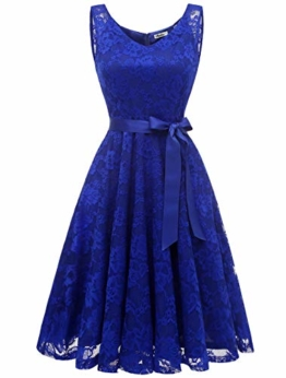 Aonour AR8008 Damen Floral Spitze Brautjungfern Party Kleid Knielang V Neck Cocktailkleid Royalblue L - 1