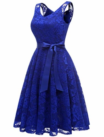Aonour AR8008 Damen Floral Spitze Brautjungfern Party Kleid Knielang V Neck Cocktailkleid Royalblue L - 4