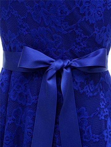 Aonour AR8008 Damen Floral Spitze Brautjungfern Party Kleid Knielang V Neck Cocktailkleid Royalblue L - 5