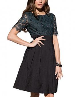 APART Fashion Damen A-Linie Kleid 39532, Knielang, Gr. 42, Schwarz (smaragd-schwarz) - 1