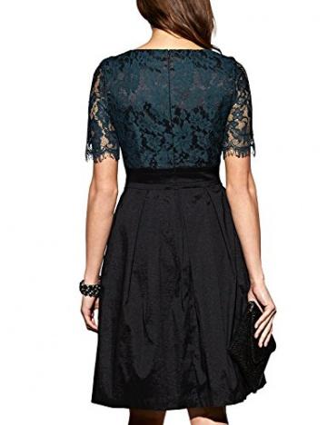 APART Fashion Damen A-Linie Kleid 39532, Knielang, Gr. 42, Schwarz (smaragd-schwarz) - 2