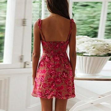 Ariymap Bodycon Kleid Sexy Schnüren Blumig Minikleid Damen Sexy Kurz Strandkleid - 5