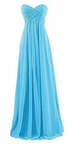 Arrowhunt Damen Chiffon Lange Elegant Bandeau Party Kleider Brautjungfernkleid mit Zurückreißverschluss -