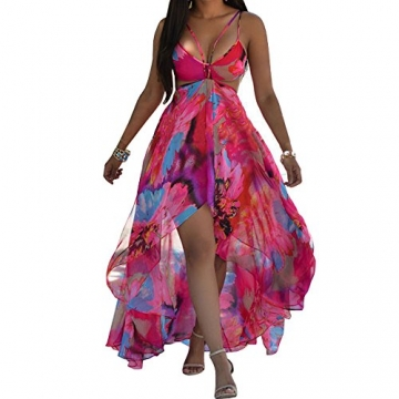 Arrowhunt Damen Einteillig Sexy Taille Blumen Push Up Bikini Set Bikini Kleider Strandkleider Beachwear -