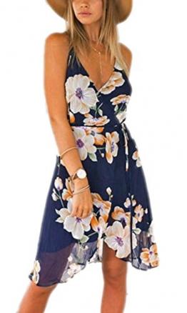Arrowhunt Damen Elegant Rückenfrei Ärmellos Blumen Strandkleider Kleider -