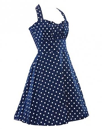 Arrowhunt Damen Mädchen 50er Vintage knielang Polka Punkt Rückenfrei Kleider -