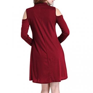 Arrowhunt Damen Mädchen Einfarbig V-neck Langarm Schulterfrei Lange Pullover Minikleider -