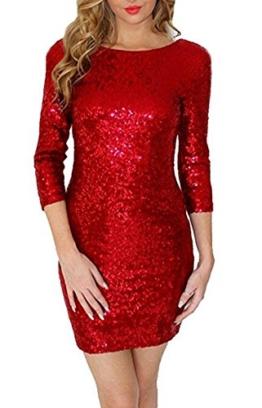 Arrowhunt Damen Mädchen Langarm Rot Pailletten Minikleid,Rot,Label M/EU 34-36 - 1