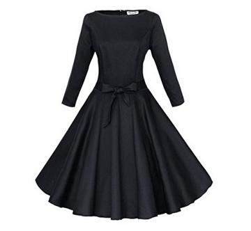Arrowhunt Damen Mädchen Runde Ausschnitt Taille Plissiert Kleider -