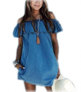 Arrowhunt Damen Mädchen Schulterfrei Imitation Denim Bandeau Jeans Minikleid -