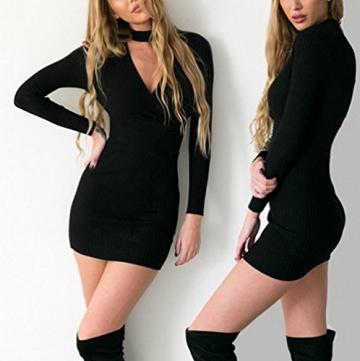 Arrowhunt Damen Mode Einfarbig Langarm V-Neck Kurz Bodycon Kleider Minikleider -