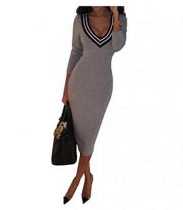 Arrowhunt Frau Sexy Tiefen V Pullover Kleid (S) -
