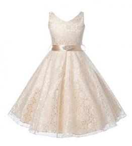 Arrowhunt Mädchen Elegant Einfarbig Ärmellos V-neck Lace Spitze Blumen Prinzessin Partykleid Kleider -
