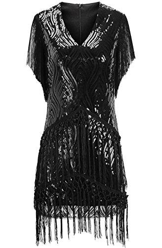 ArtiDeco 1920s Charleston Kleid Mini Damen Vintage Gatsby Kostüm Flapper 20er Jahre Cocktailkleid (Schwarz, XS) - 2