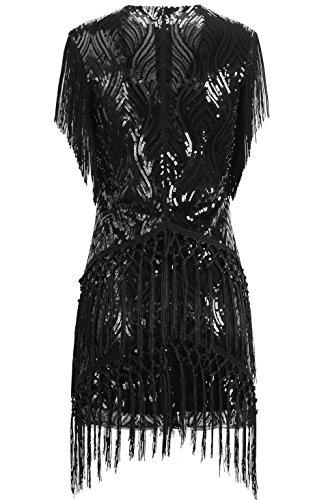 ArtiDeco 1920s Charleston Kleid Mini Damen Vintage Gatsby Kostüm Flapper 20er Jahre Cocktailkleid (Schwarz, XS) - 3