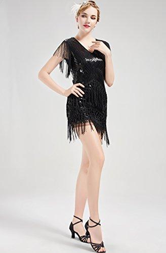ArtiDeco 1920s Charleston Kleid Mini Damen Vintage Gatsby Kostüm Flapper 20er Jahre Cocktailkleid (Schwarz, XS) - 5