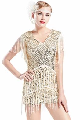 ArtiDeco 1920s Charleston Kleid Mini Damen Vintage Gatsby Kostüm Flapper 20er Jahre Cocktailkleid (Beige, XS) - 1