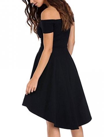 ASCHOEN Damen Schulterfrei Skater kleider Elegant Asymmetrisch Sexy Party Abendkleid Schwarz M -