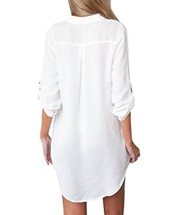 ASCHOEN Damen Strand Bluse Shirt Hemd Oberteil Tops T-shirt Minikleid Blusekleid - 2