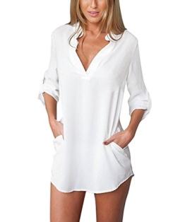 ASCHOEN Damen Strand Bluse Shirt Hemd Oberteil Tops T-shirt Minikleid Blusekleid - 1