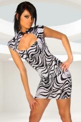 Asia-Kleid zebra schwarz weiß
